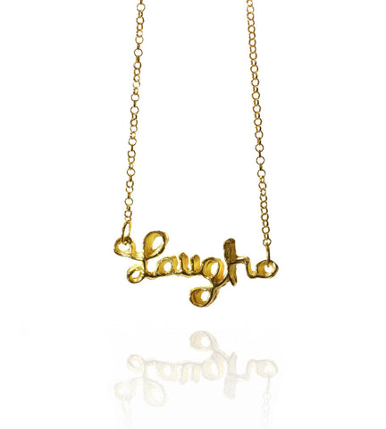 Pendant Necklace | Laugh | 18K Yellow Gold Plated Sterling Silver
