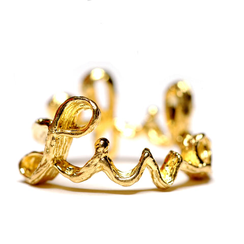 Ring | Live Life | 18K Yellow Gold Plated Sterling Silver