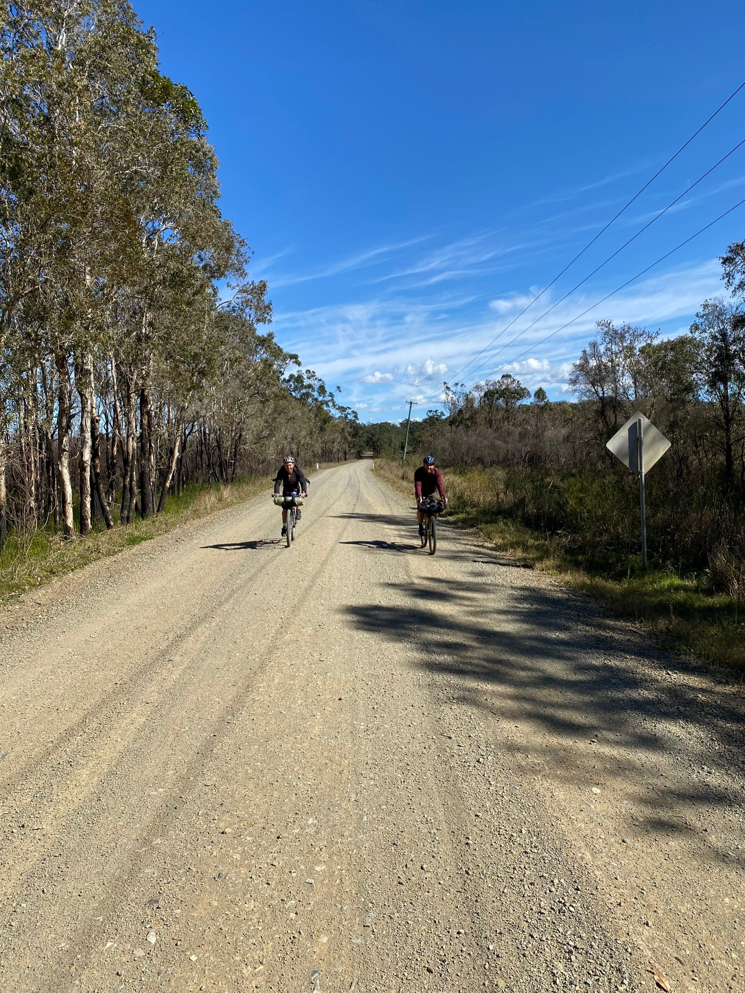 cyclists gravel road