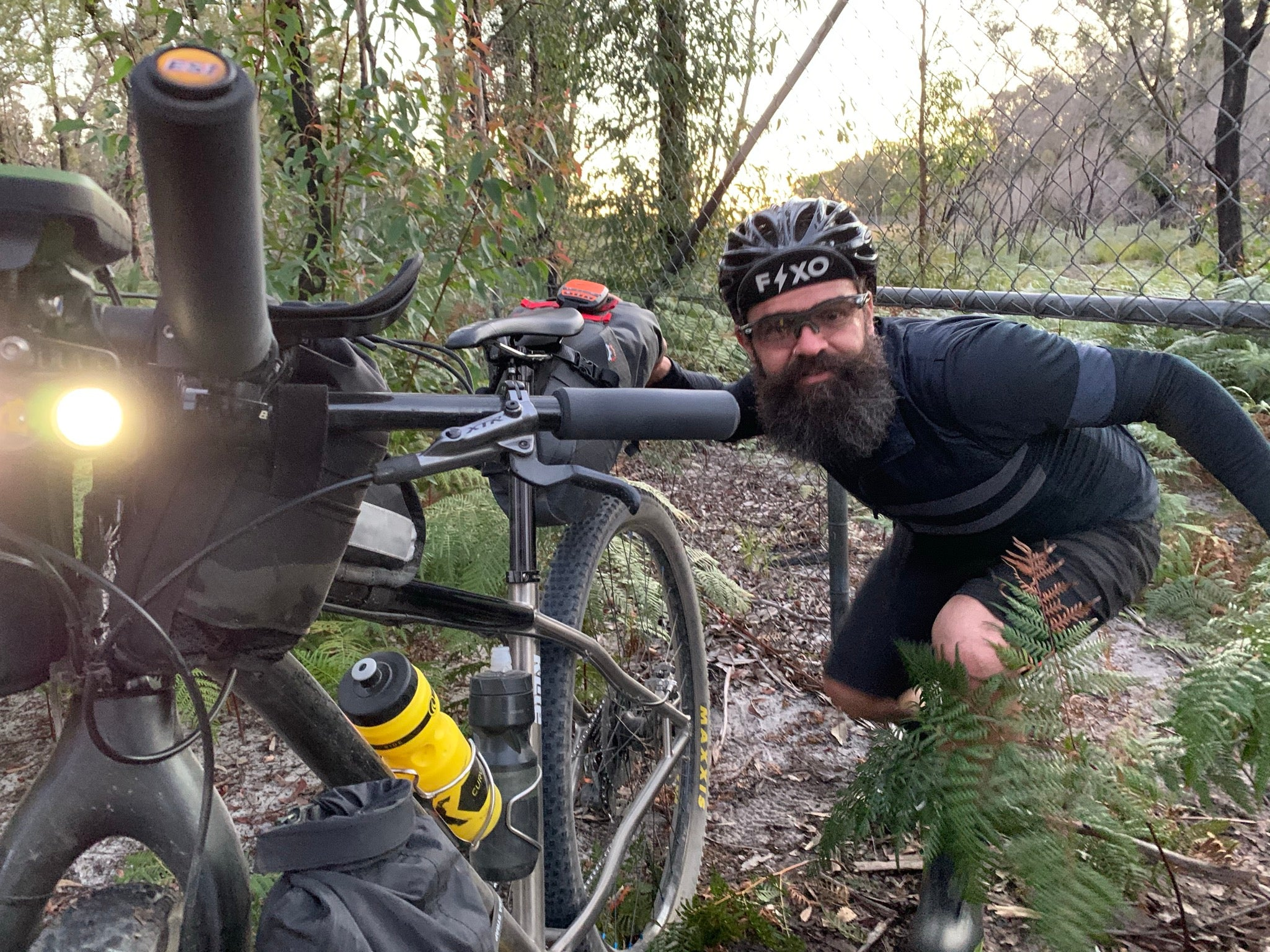 bikepacking adventure trial by fence