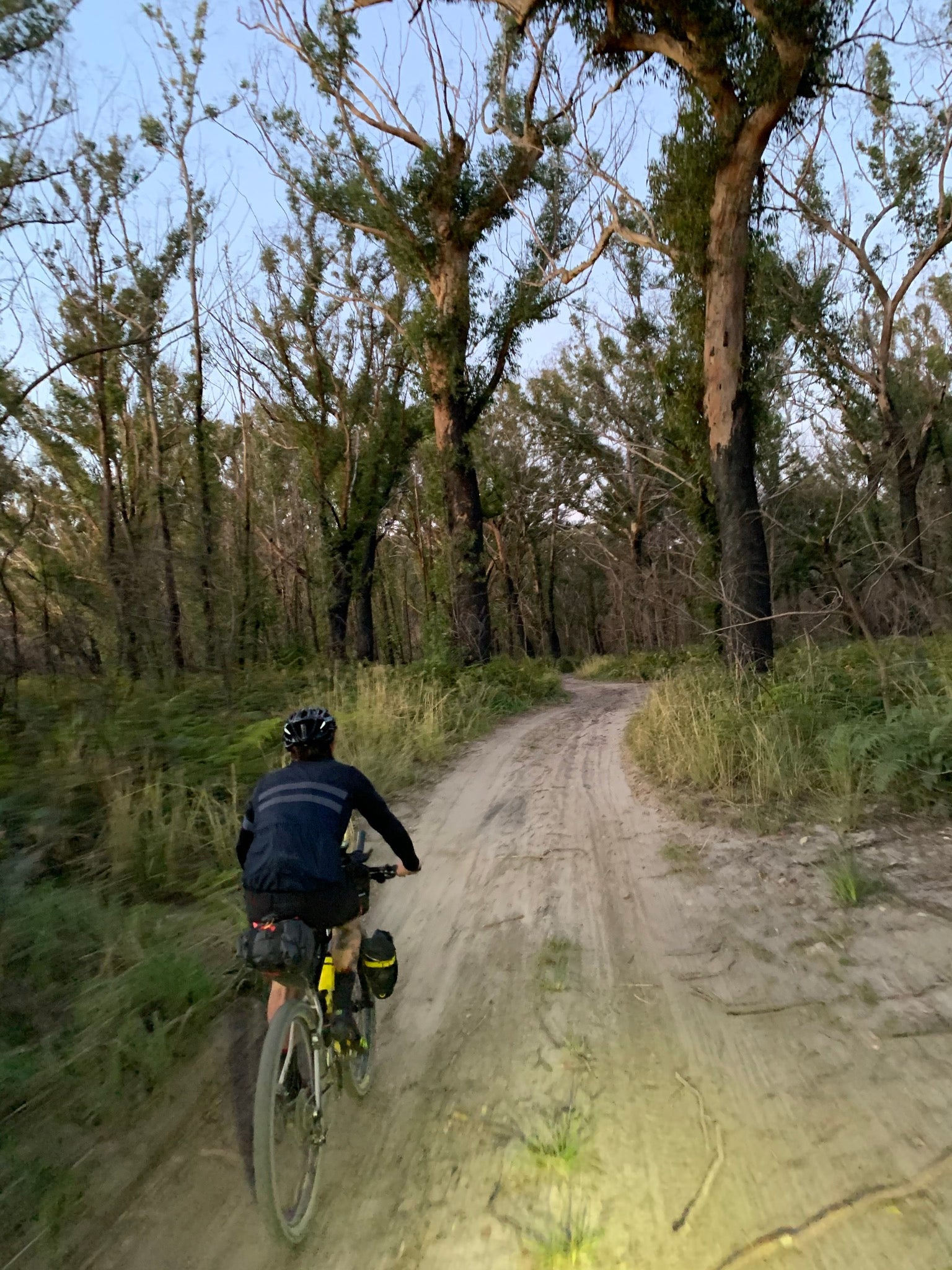 Bikepacking gravel track night