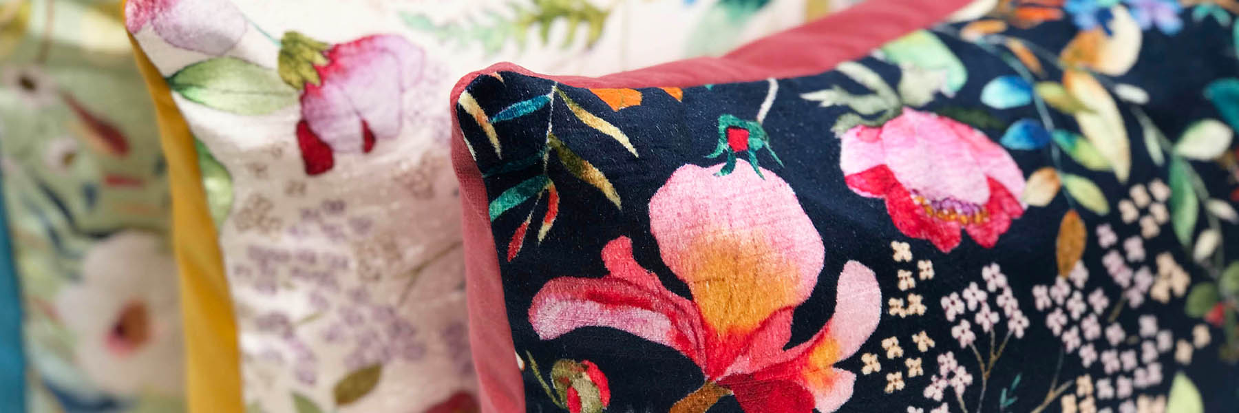 cushions velvet floral luxury Philip keighley clay