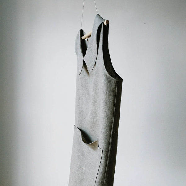 luxury linen smock apron natural front main