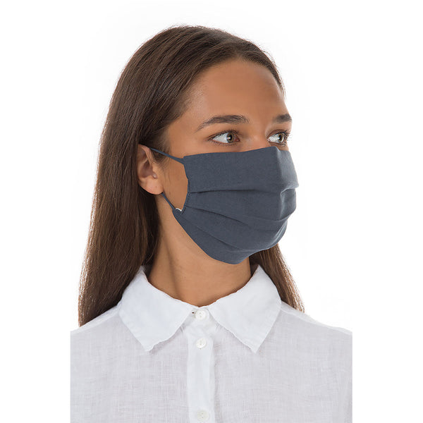 Pleated Organic Linen & Cotton Face Mask with Wire