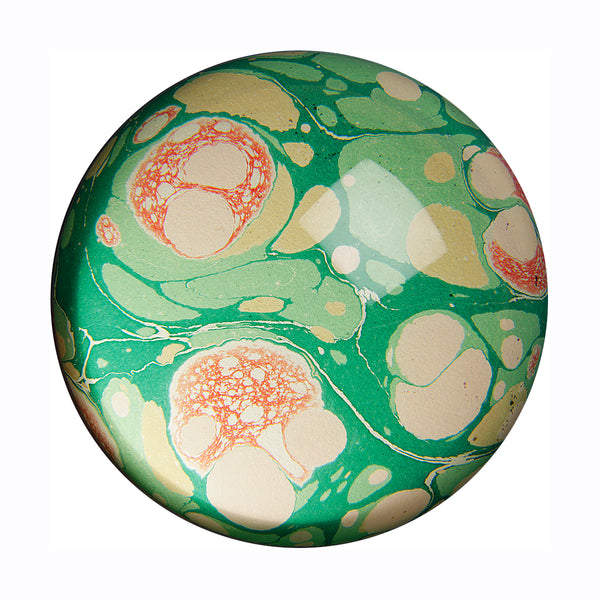 inq paperweight marbled paper green stone