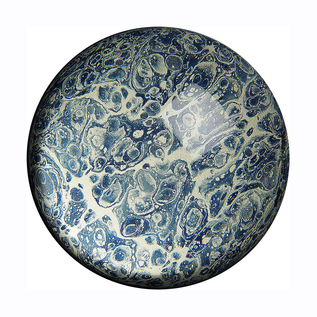 inq paperweight marbled paper navy shell