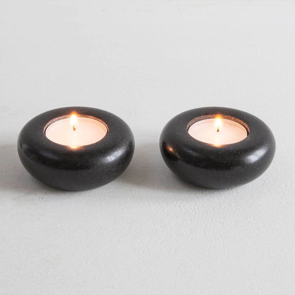 Pair of Granite or Porcelain Tea Lights