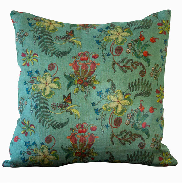 Double Sided Linen Cushion | Verdigris & Sarsaparilla