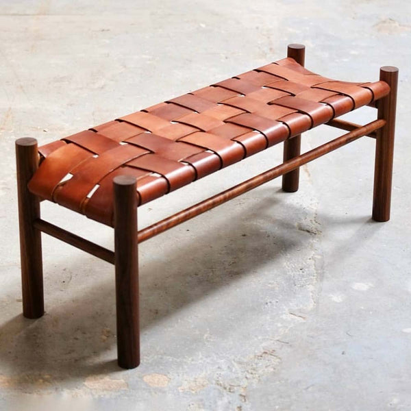 otis ingrams woven leather bench