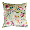 Philip clay velvet cushion floral pistachio peacock