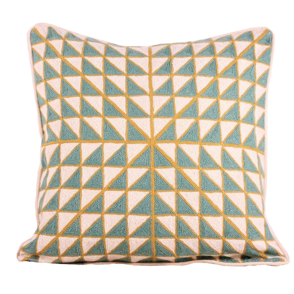 Embroidered cushion turquoise gold