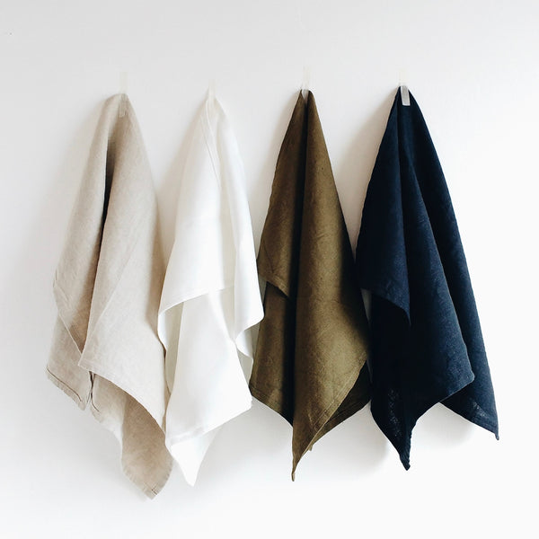 luxury linen tea towels natural white green navy 31 Chapel Lane