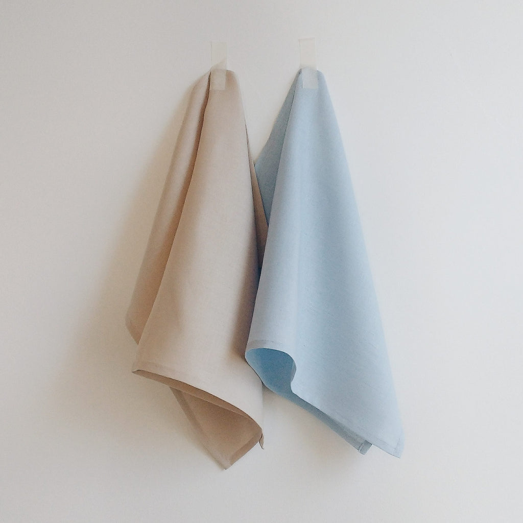 luxury linen tea towels natural blue 31 Chapel Lane