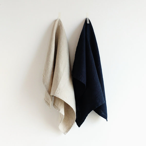 luxury linen tea towels natural navy 31 Chapel Lane