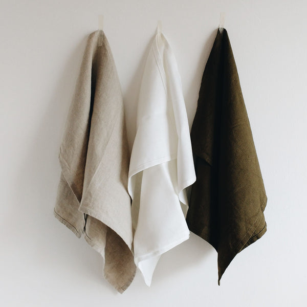 luxury linen tea towels natural white green 31 Chapel Lane