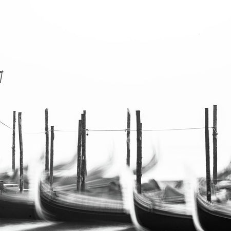 Misty gondolas in b&w