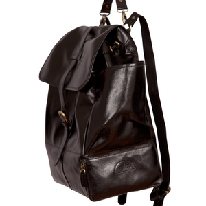 Easoto Travel Backpack Leather Black Side