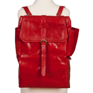 Easoto Commute Backpack Leather Ferrari Red Front