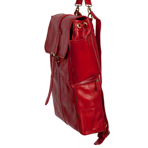 Easoto Commute Backpack Leather Ferrari Red Side