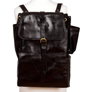 Easoto Commute Backpack Leather Black Front