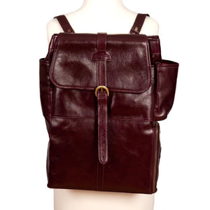 Easoto Commute Backpack Leather Mangosteen Front