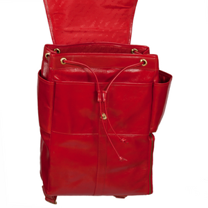 Easoto Commute Backpack Leather Ferrari Red Front Open