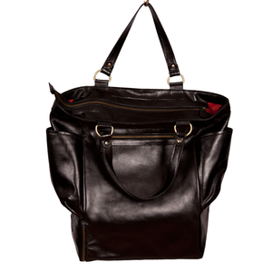 Easoto Travel Carryall Leather Black Opening