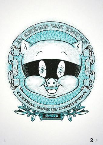 2 Sick Bastards - In greed we trust - prettyportal artshop, limited edition prints, urban contemporary art, streetart