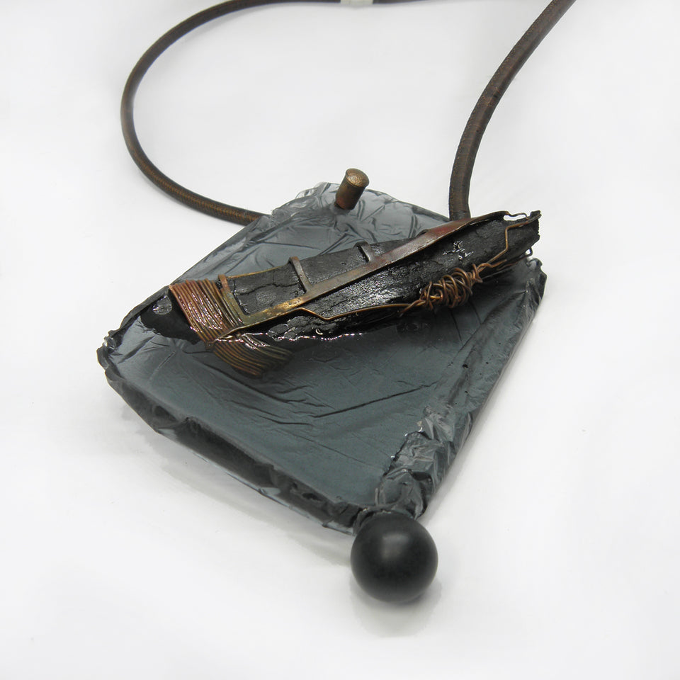 BURNED WOOD, unique pendant necklace