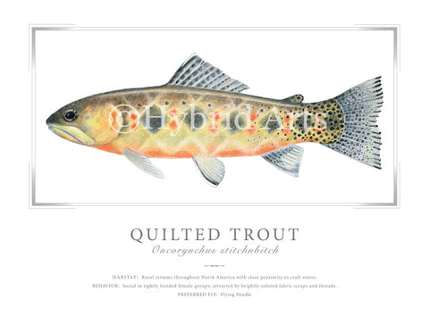 Quilted Trout Print
