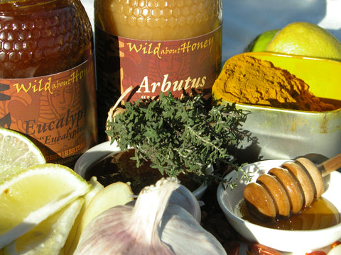 raw arbutus honey, eucalyptus honey and medicinal herbs