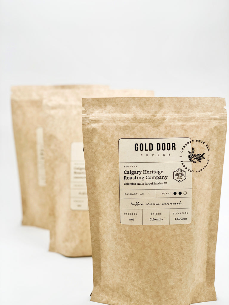 Feature January Roaster Calgary Heritage Roasting Co. in 100% Compostable Gold Door Coffee Bags
