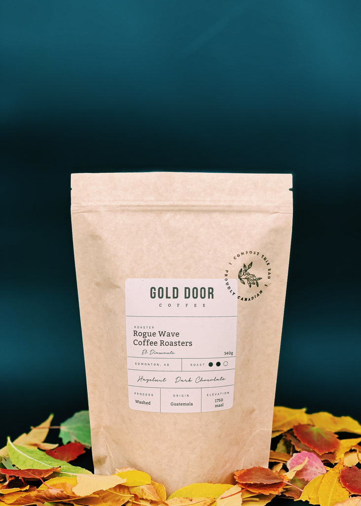 Bag of Gold Door Coffee Featured October Roaster Rogue Wave, standing in a bed of fallen leaves