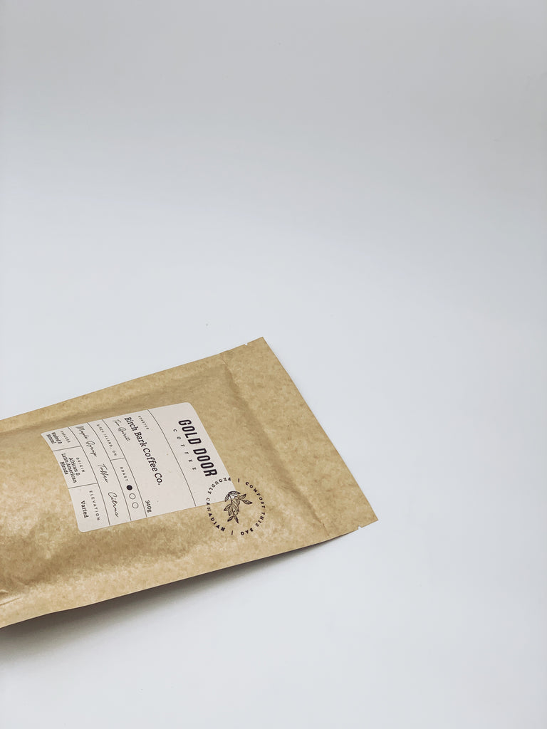 Bag of featured December roaster Birch Bark Coffee
