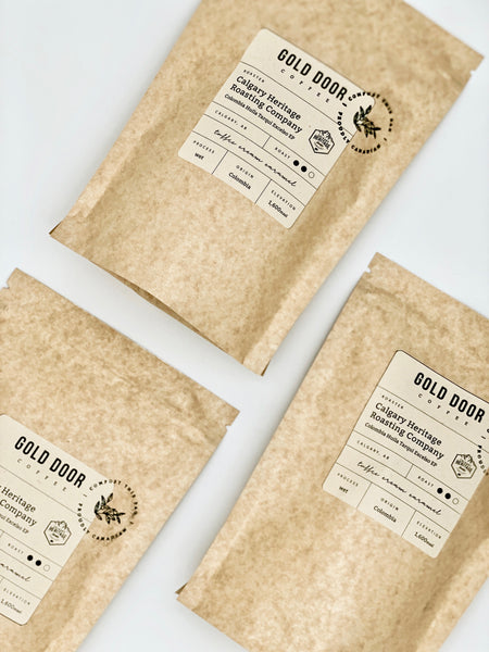 January Featured Roaster Calgary Heritage Roasting Company in Gold Door Coffee Ltd. Compostable Bags