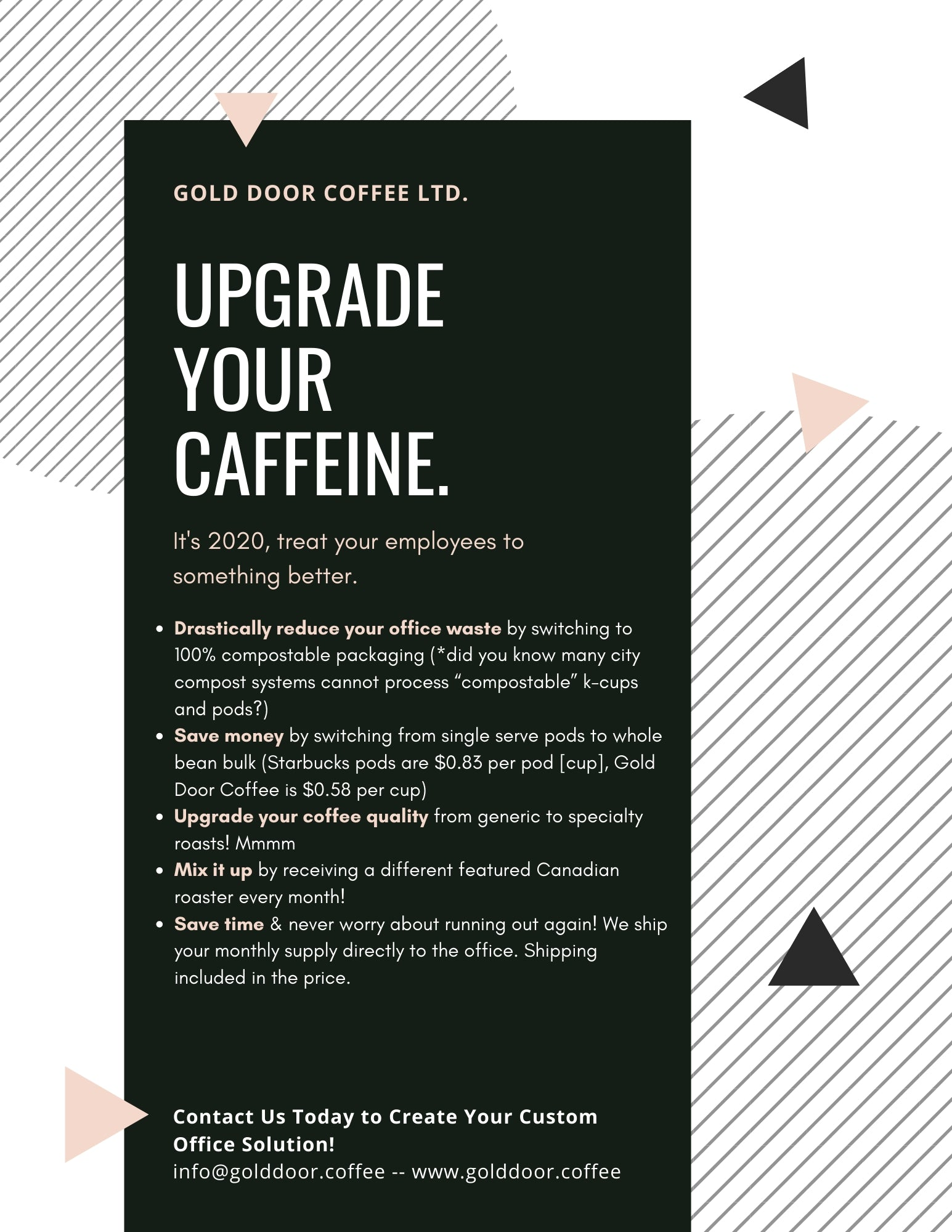 Customized zero-waste office coffee solutions from Gold Door Coffee Ltd.