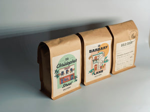 Gold Door Coffee complete subscription line. bags of 28 Barbary lane, 53 christopher st, and the traveller roast.