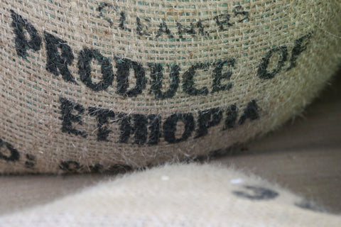 """coffee sack stamped """"produce of Ethiopia"""" from Animated Coffee"""