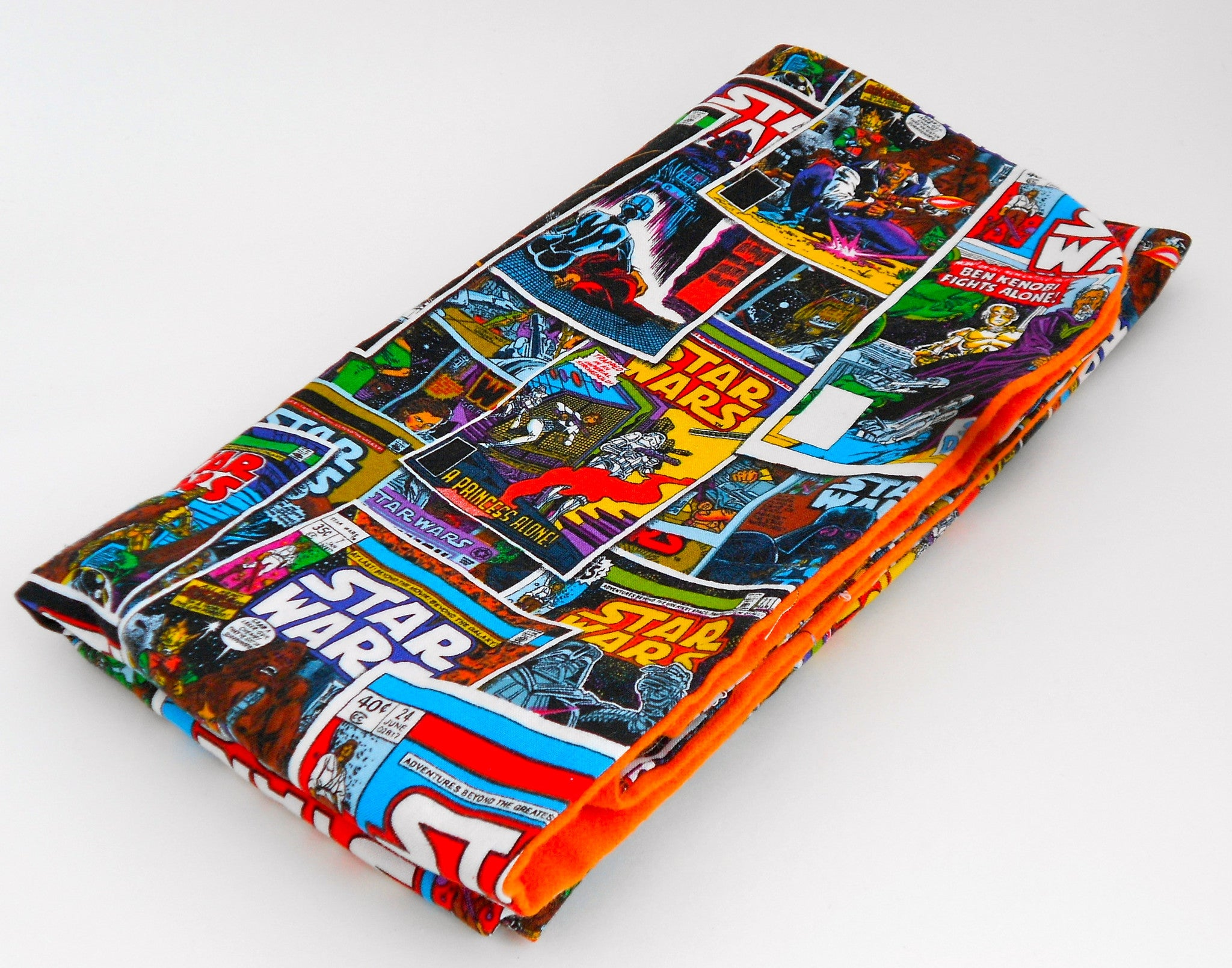 Star Wars Comic Book Blanket with Orange Flannel