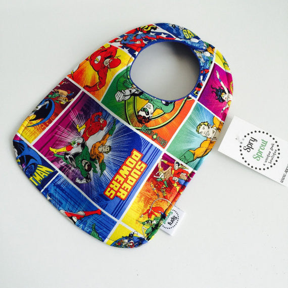 DC Comics Justice League ZAP! Snap Baby Bib