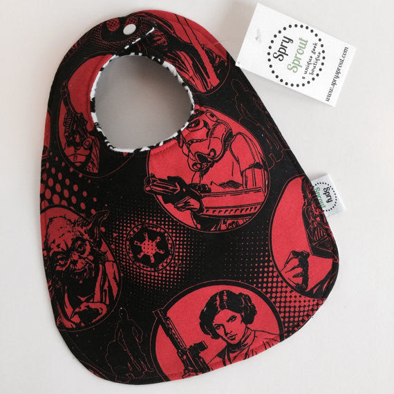 Star Wars Red Circles ZAP! Snap Baby Bib