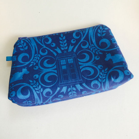 Elegant Whovian Sonic Blues Large Zippered BOOM! Bag