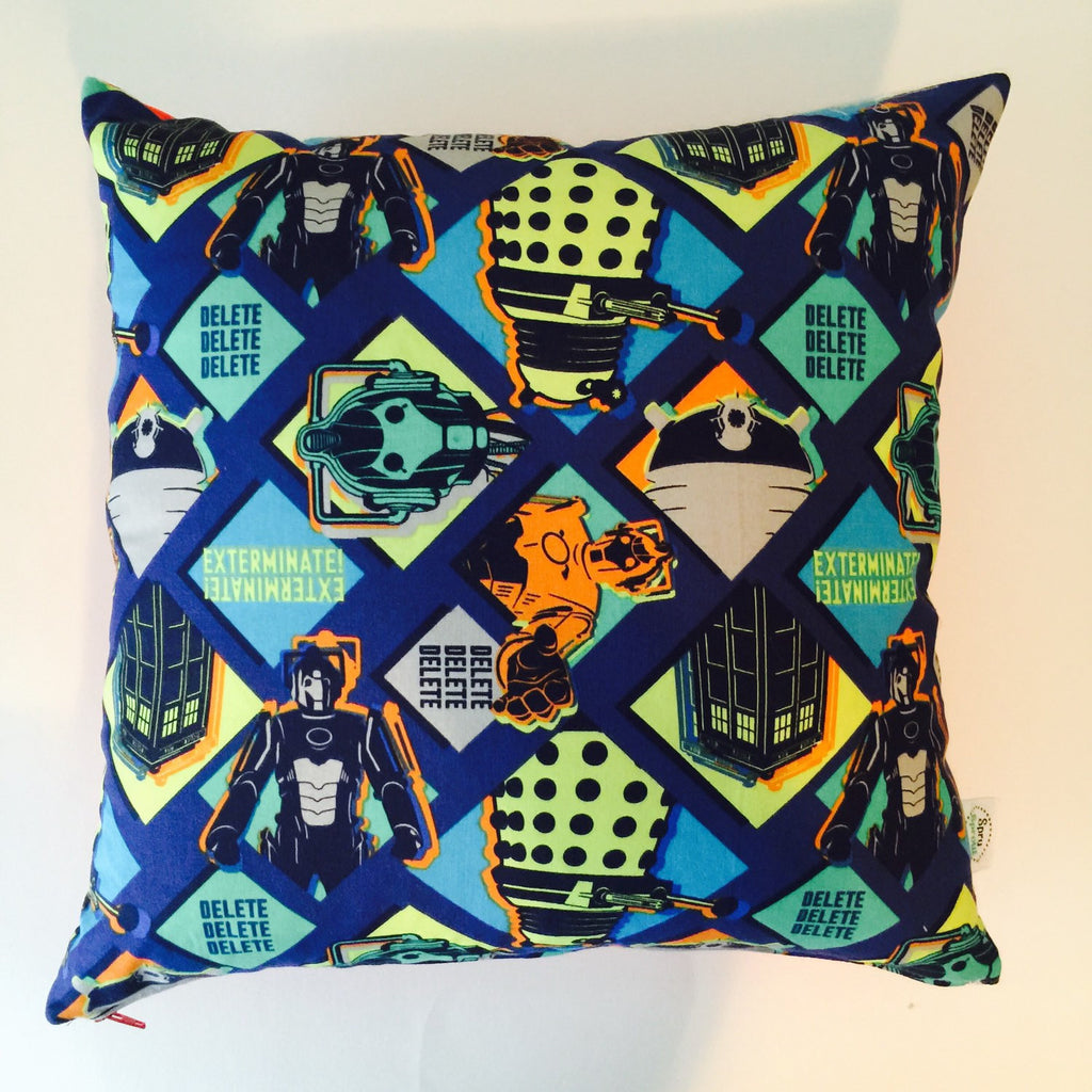 Doctor Who Dalek and Cyberman Throw Pillow Slipcover - 16x16 Orange