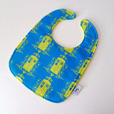 Doctor Who TARDIS Damask ZAP! Snap Baby Bib - Blue and Yellow