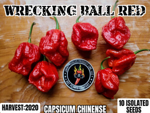 Wrecking Ball Red (Capsicum Chinense) Super Hot- 10 Isolated Seeds