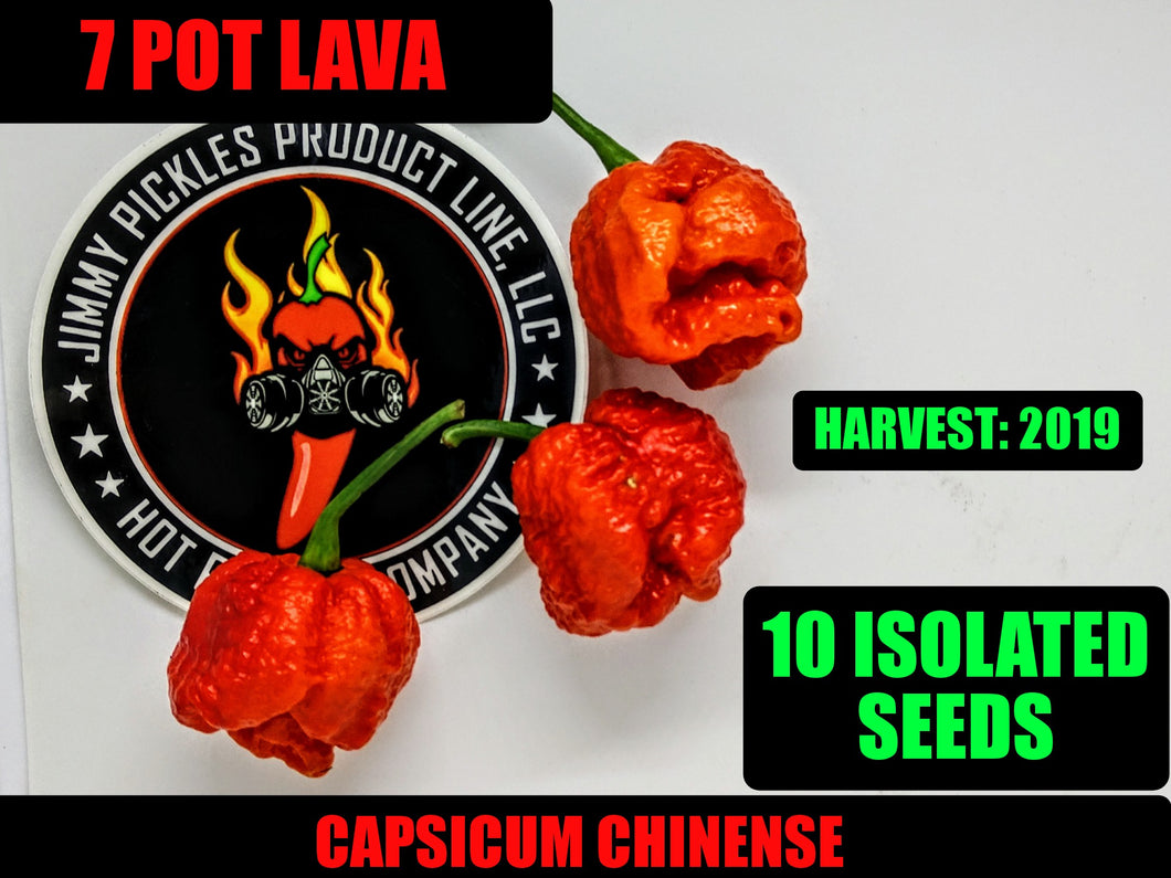 7 Pot Lava Red (Capsicum Chinense) Super Hot-10 Isolated Seeds