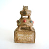 Chinese Old Bronze and Jade Seal with Animal Statue and Beads