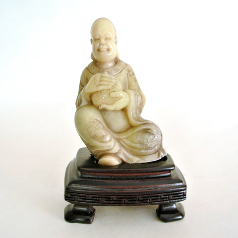Chinese Small Soapstone Statue of Buddha Sitting