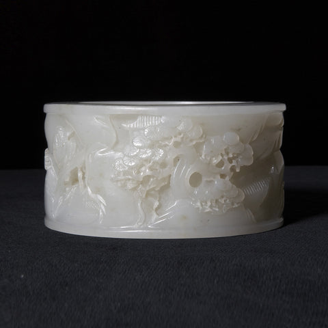 Chinese White Jade Bangle with Beautiful Carved Scenery from Qing Period