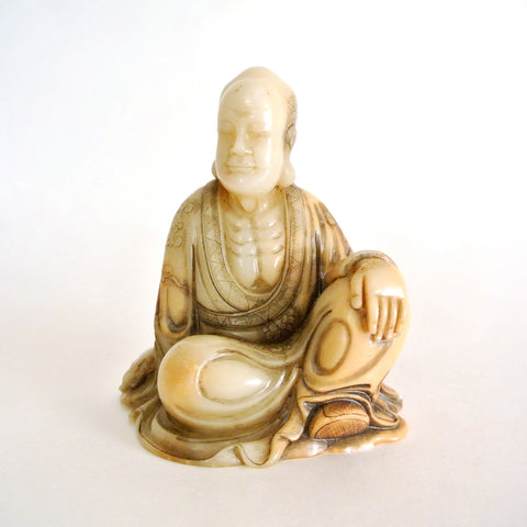 Chinese Old Quality Soapstone Sitting Buddha Carving
